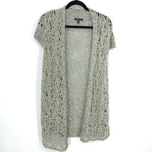 Eileen Fisher Open Knit Crochet Cardigan Sweater